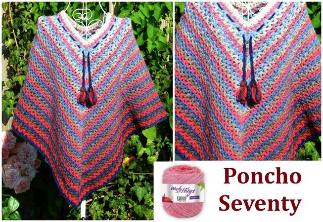 Poncho SEVENTY aus Woolly Hugs CLOUD gehäkelt