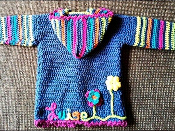 Personalisierte Babyjacke Luise Ca Größe 80 Häkeln