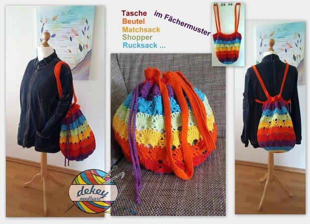 Tasche Häkeln Matchsack Regenbogen