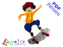 Skateboarder Crochet Applique Pattern