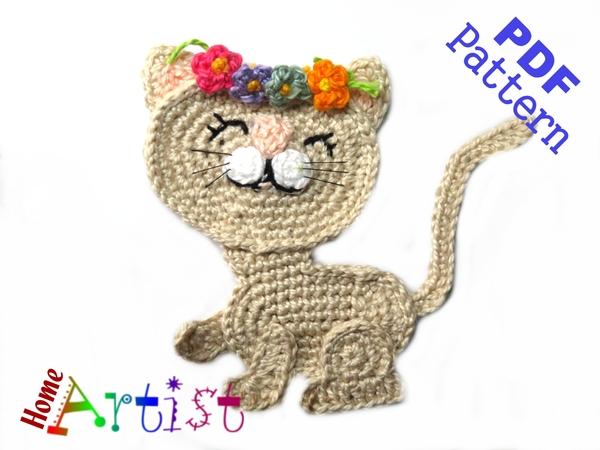 Cat Pattern Crochet Applique