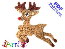 Xmas Reindeer Crochet Applique Pattern