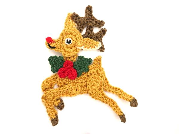 Xmas Reindeer Crochet Applique Pattern