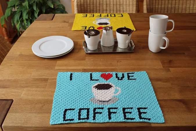 Platzsets häkeln / Kaffeetrinker-Motiv häkeln