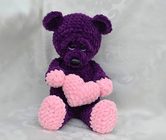 Teddy Bär Chenille Kuschelwolle Mit Herz Zum Valentinstag Kuschelbär Ohne Viel Nähen
