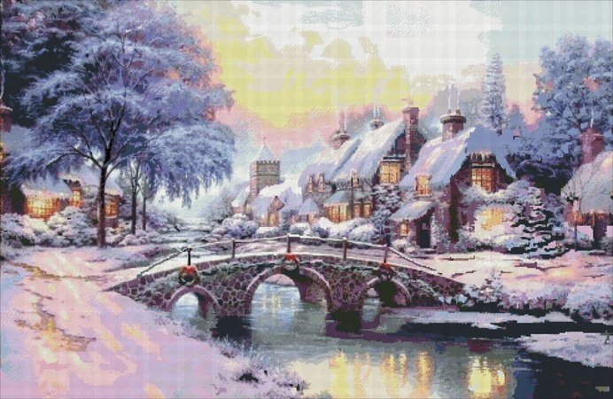 The scheme for embroidery cross house in the snow embroidery winter holiday decor cross stitch winter a river in winter PDF format Christmas