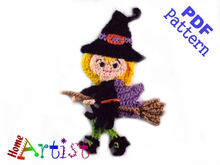 Witch Halloween crochet Applique Pattern
