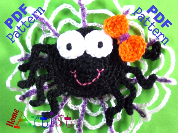Spider Halloween crochet Applique Pattern