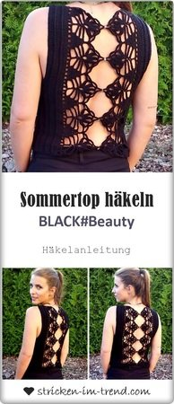 Crochet Pattern for sleeveless Top in all sizes | BLACK#BEAUTY