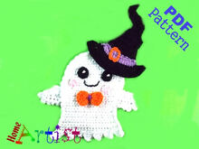 Ghost + Hat Halloween crochet Applique Pattern