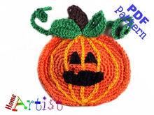Pumpkin + Hat Halloween crochet Applique Pattern