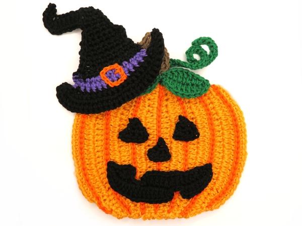 Pumpkin Hat Halloween Crochet Applique Pattern