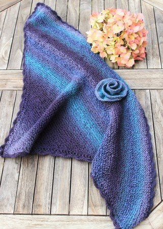 Triangular shawl AENNY, knitting pattern, individual size, suitable for beginners