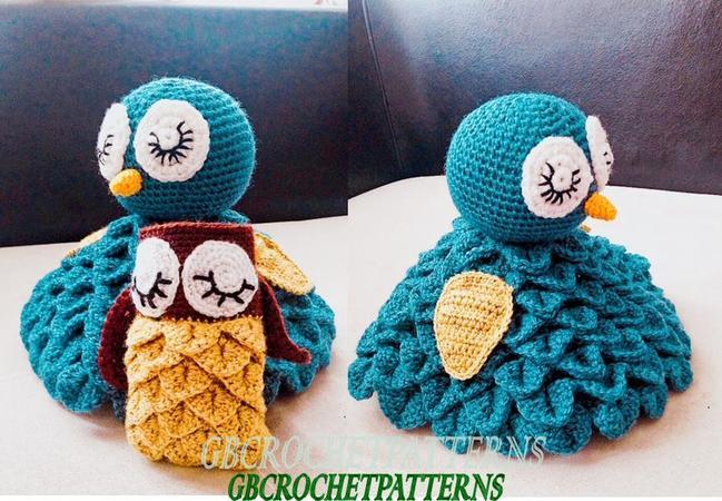 Crochet Pattern owl snuggle blanket