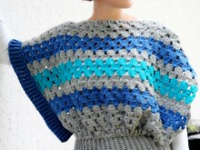 "crochet pattern ponchover ""heather"", size S-XXL"