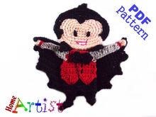 Dracula Halloween crochet Applique Pattern