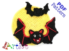 Bat + Moom Halloween crochet Applique Pattern