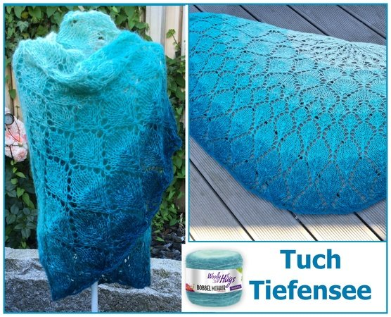 "Tuch ""Tiefensee"" mit 1 Woolly Hugs BOBBEL-MOHAIR stricken"