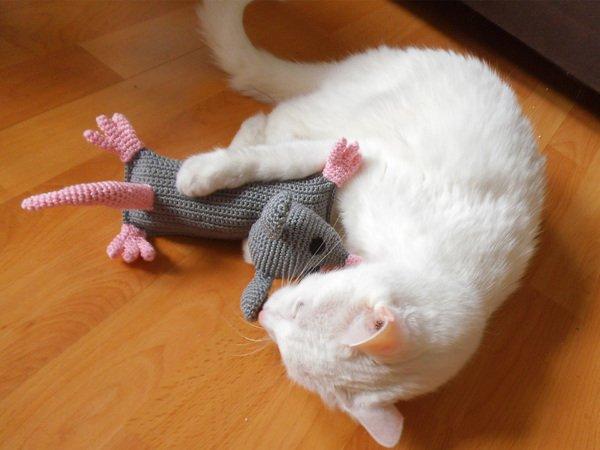 Katzenspielzeug Häkelnratte Mit Katzenminze
