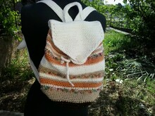 Striped boho backpack crochet pattern