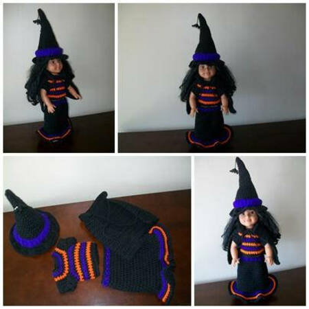 "Crochet pattern Witch Costume for 18"" dolls"