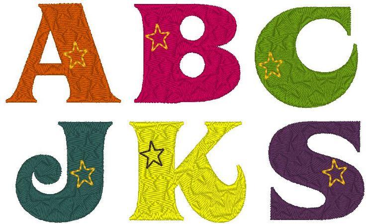 Stickdatei Buchstaben Stern - Alphabet 3 und 5cm