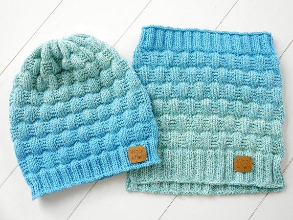 Sparset stricken: Mütze + Handschuhe + Loop