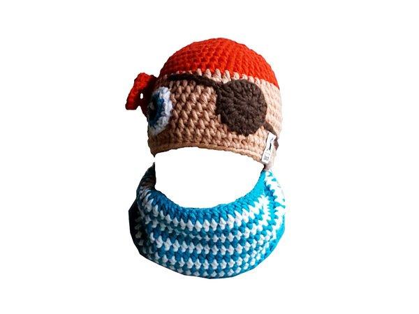 Häkelanleitung Mütze Pirat mit angehäkeltem Schal