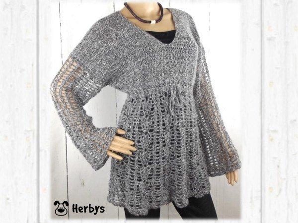 Pullover häkeln / Tunika-Style + V-Ausschnitt