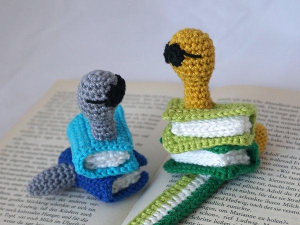 Häkelanleitung Lesezeichen Bücherwurm