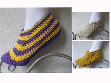 crochet pattern slippers, shoes, bed shoes, variable sizes, quick and easy to crochet, unisex
