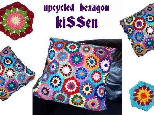 E Book Kunterbuntes Upcycled Hexagon Kissen Kissenhülle