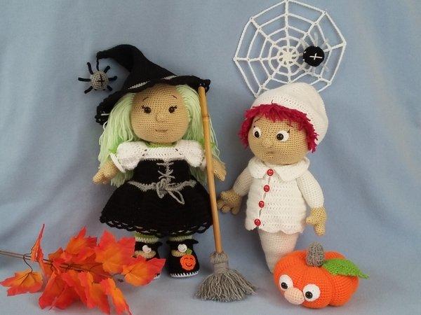Halloween-Deko häkeln: Hexe, Gespenst, Kürbis