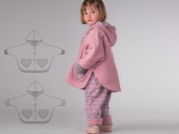 MARA Girl baby girls poncho sewing pattern pdf. Lined unisex reversible cape with sleeves, hood and cuffs 6M to 9Y by Patternforkids
