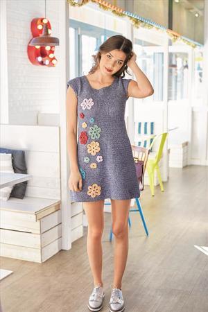 Häkelanleitung Kleid im Jeanslook mit Blumen aus Baumwolle-Polyster ...