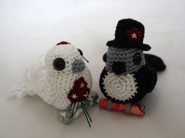 Häkelanleitung Brautpaar Vogel
