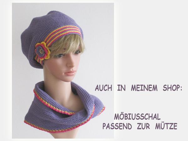 Häkelanleitung: Beanie, Mütze mit Blume häkeln - Größen: S, M, L