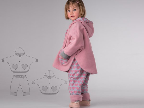 MARA + FIOCCO Girls baby bundle poncho + easy pants sewing pattern pdf by Patternforkids. Lined unisex reversible cape with sleeves + hood