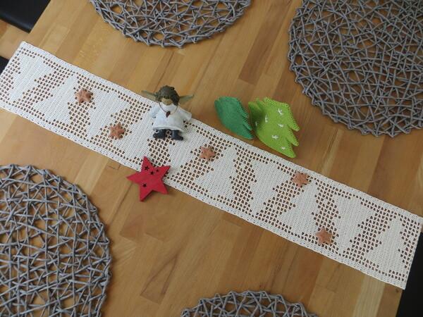 Weihnachtsdeko häkeln / Tischband häkeln