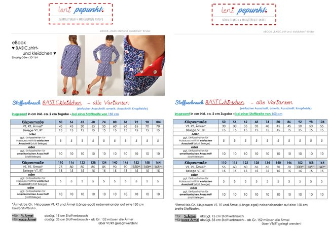 "eBOOK SET # 99+100 ""BASIC.shirt und -kleid"" Mutter-/Kind-Kombi"