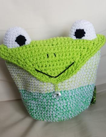 Frosch Rucksack für Kinder Häkelanleitung