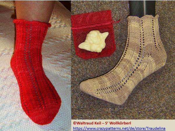 Relax-Socken (m/w) 6-f. in einfachem Ajourmuster - Strickanleitung