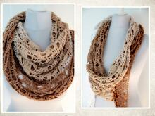 "crochet pattern triangluar shawl ""hazelnut"""