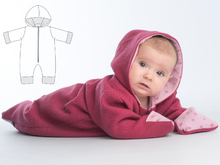 SOLE Baby jumpsuit pattern with hood + zipper, lined