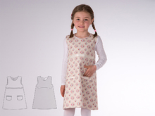 ELENA Baby girls reversible dress sewing pattern pdf with drop neckline