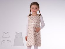 ELENA Baby girls reversible dress sewing pattern pdf with drop neckline. Tunic pinafore dress with ribbons and pockets by Patternforkids