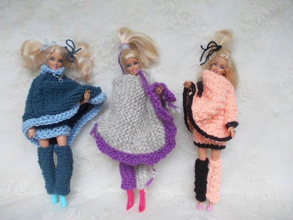 Strickgarnitur für Puppen, Ponchos, Röcke, Beinstulpen (3 Muster ...