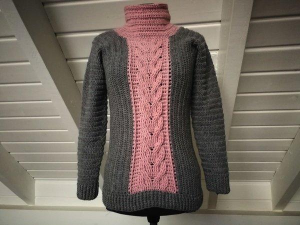 Pullover häkeln // Pulli mit Zopfmuster