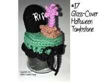 "Crochet instruction E-Book glass cover ""Halloween tombstone"" #0017 halloween zombie decor english"