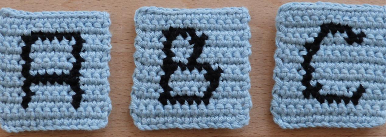 Häkelanleitung für eingehäkelte Buchstaben, Zählmuster von A-Z